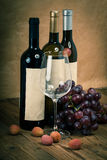 Bottle of vine with wine glass and grapes royalty free stock photo