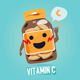 Bottle of vitamin c with cab character design. benefit of vitamin Stock Photo