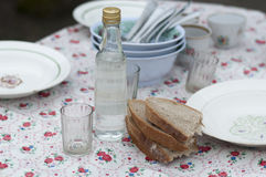Bottle of vodka, fresh bread and plates Stock Photo