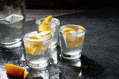 Bottle of vodka or gin with shot glasses and lemon. Stock Image
