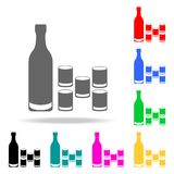 a bottle of vodka with glasses icon. Elements of bar in multi colored icons. Premium quality graphic design icon. Simple icon for royalty free illustration