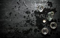 Bottle of vodka with shot glasses. Stock Images