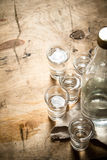 Bottle of vodka with shot glasses. Royalty Free Stock Photo