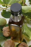 Bottle with walnut oil and walnuts Stock Images