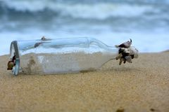 Bottle washed ashore. Glass bottle washed ashore after a storm, living sea life attached stock photos