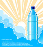 Bottle of water background with sunlight.Vector il stock illustration