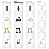 Bottle with water, biceps, muscles, dumbbells for fitness, exercise bike. Fitness set collection icons in cartoon black Royalty Free Stock Images