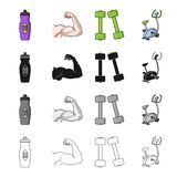 Bottle with water, biceps, muscles, dumbbells for fitness, exercise bike. Fitness set collection icons in cartoon black Stock Photography