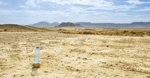 Bottle of water in Desert of the Bardenas Reales Stock Photography