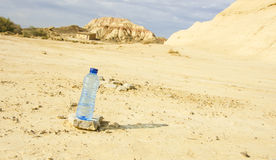 Bottle of water in Desert of the Bardenas Reales Royalty Free Stock Image