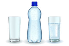 Bottle of water with drops. Glass of water and empty glass. Stock Images