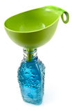 Bottle of water and funnel Stock Photo