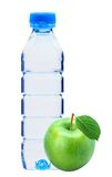 Bottle with water and green apple isolated Stock Photos