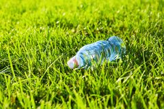 Bottle of water on the green grass stock image