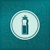 Bottle of water icon on a green background, with arrows in different directions. It appears the electronic board. Bottle of water icon on a green background stock illustration
