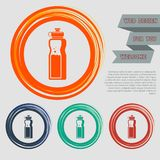 Bottle of water icon on the red, blue, green, orange buttons for your website and design with space text. Illustration royalty free illustration