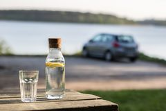 A bottle of water with lemon and a glass. Table by the lake. In. The background a car in the parking lot. Season of the spring Royalty Free Stock Photography