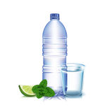 Bottle of water with lemon and mint leaves Royalty Free Stock Photo
