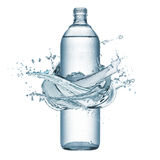 Bottle of water. Bottle of natural water with splash water around, isolated on white stock photos