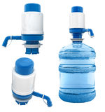Bottle with water pump. Bottle of water with water pump isolated over white background Royalty Free Stock Image