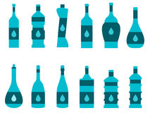 Bottle of water. Set of bottles of different shapes. Royalty Free Stock Image