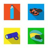 A bottle of water, sneakers, a flashlight for a bicycle, a protective helmet.Cyclist outfit set collection icons in flat Royalty Free Stock Photo