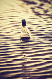 Bottle in water at sunset, retro instagram vintage effect. Royalty Free Stock Photography