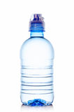 Bottle of water. Transparent plastic bottle filled with water closeup  on white background Royalty Free Stock Photography
