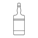 Bottle whiskey expensive liquor outline. Vector illustration eps 10 Royalty Free Stock Images