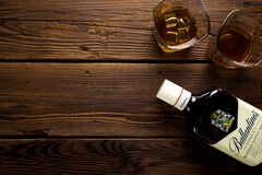 Bottle of whiskey and glasses Royalty Free Stock Photography