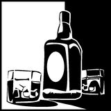Bottle of whiskey. Stylized illustration of a bottle of whiskey and  glasses with ice cubes in black and white interpretation Stock Image