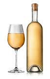 Bottle and white glass wine Stock Images