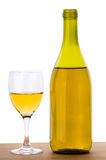 Bottle with white grape wine and glass isolated on white Royalty Free Stock Images