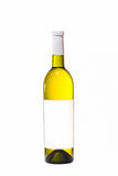 Bottle with white wine. And blank sticker Stock Images