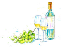Bottle of white wine, glasses and grapes. vector illustration