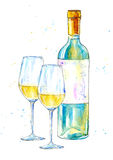 Bottle of white wine and glasses. stock illustration