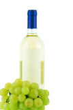 Bottle of white wine and grape Stock Photo