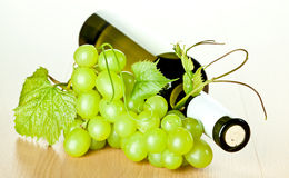 Bottle of white wine and green grapes Stock Photography