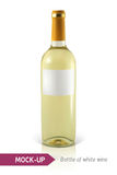 Bottle of white wine. Mockup realistic bottle of white wine on a white background with reflection and shadow. Template for wine label design Stock Photography