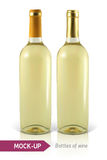 Bottle of white wine. Mockup two realistic bottle of white wine on a white background with reflection and shadow. Template for wine label design Stock Photo