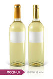 Bottle of white wine. Mockup two realistic bottle of white wine on a white background with reflection and shadow. Template for wine label design Royalty Free Stock Images