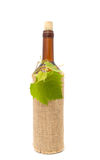 Bottle of White Wine in Sackcloth Stock Photos
