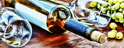 Bottle of white wine. Thanksgiving. Royalty Free Stock Image
