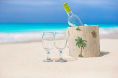 Bottle of white wine and two glasses on the exotic Royalty Free Stock Image
