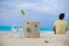 Bottle of white wine and two glasses on the exotic Royalty Free Stock Images