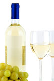 Bottle of white wine, two glasses and grape Royalty Free Stock Photo