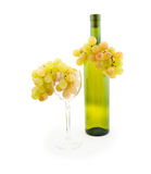 Bottle of white wine and white grapes Stock Photography
