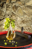 Bottle of white wine, wine glass and grapes on the barrel Stock Photos