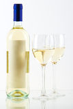 Bottle of white wine and wine glasses Royalty Free Stock Photo