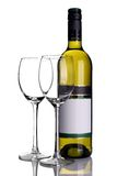 Bottle of white wine with wine glasses royalty free stock images